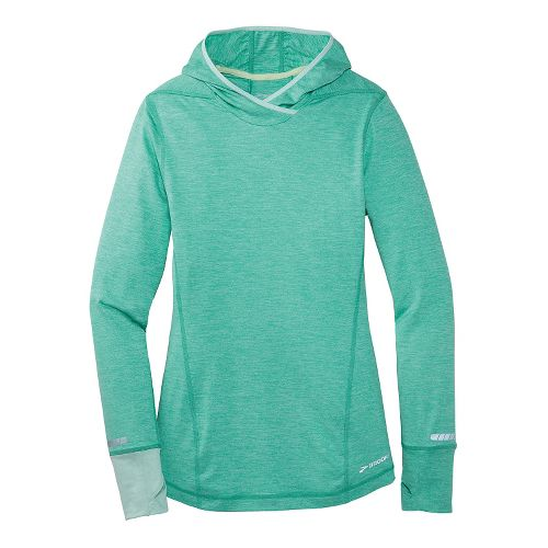 Womens Brooks Essential Long Sleeve No Zip Hoodie Technical Top - Sea Foam Green L ...