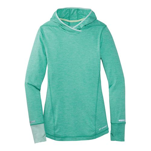 Womens Brooks Essential Long Sleeve No Zip Hoodie Technical Top - Sea Foam Green XS ...