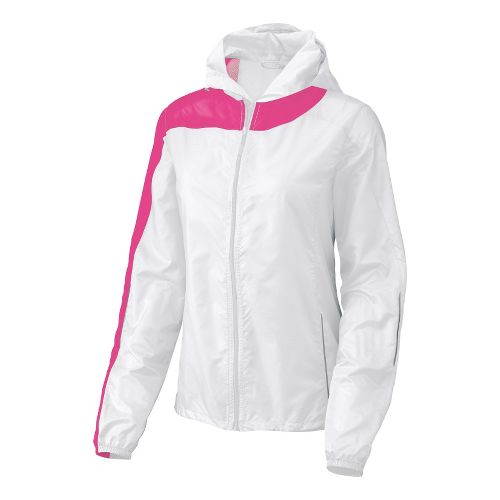 Womens Brooks Nightlife L.S.D. Lite III Running Jackets - White/Bright Pink M