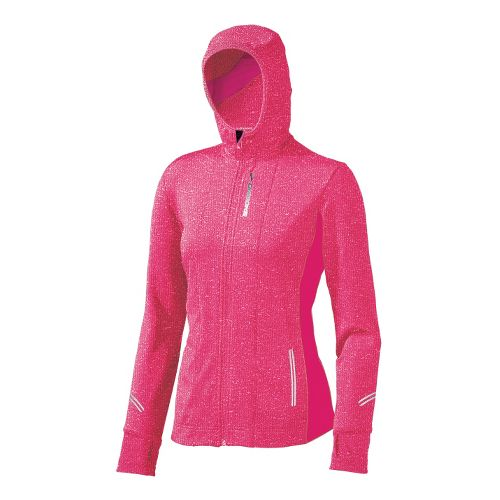 Womens Brooks Utopia Thermal Hoodie II Warm-Up Hooded Jackets - Pomegranate L