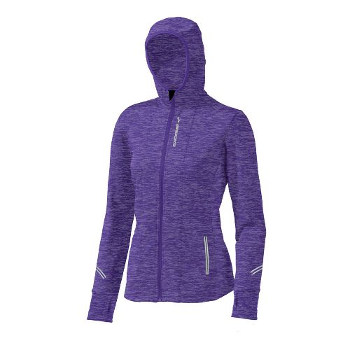 Womens Brooks Utopia Thermal Hoodie II Warm-Up Hooded Jackets - Purple L