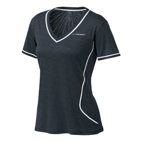 Womens Brooks Versatile EZ V-Neck Short Sleeve Technical Tops - Heather Grey M