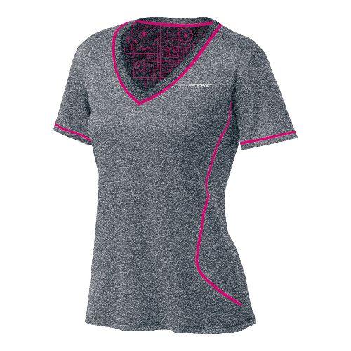 Womens Brooks Versatile EZ V-Neck Short Sleeve Technical Tops - Heather Grey/Pomegranate M