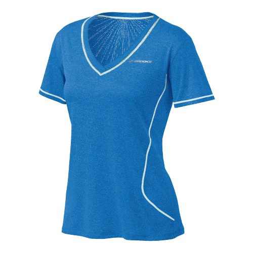Womens Brooks Versatile EZ V-Neck Short Sleeve Technical Tops - Neptune M
