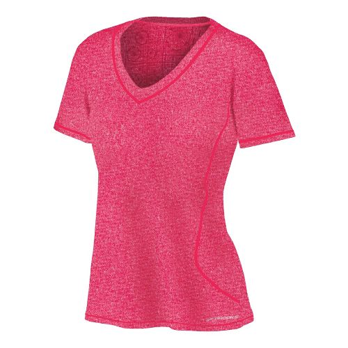 Womens Brooks Versatile EZ V-Neck Short Sleeve Technical Tops - Pomegranate L