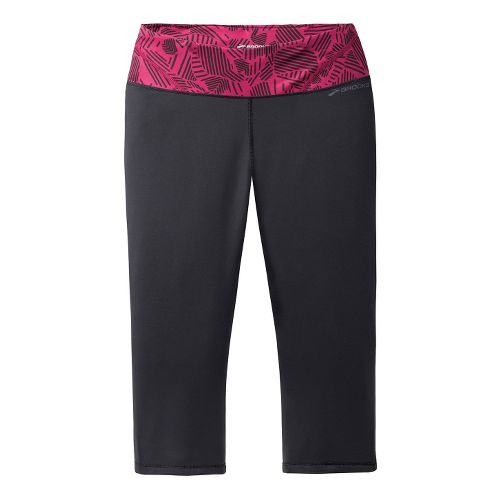 Womens Brooks Infiniti III Capri Tights - Black/Jam Berry L