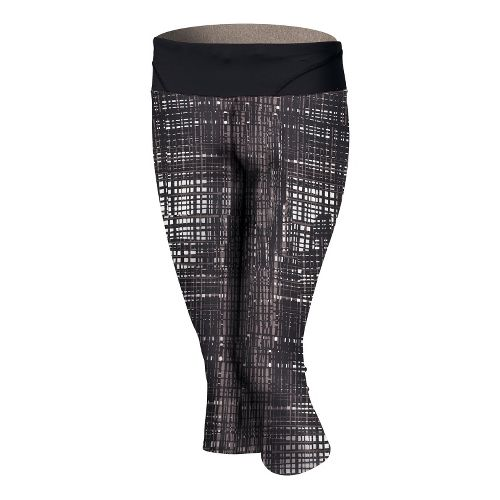 Womens Brooks Infiniti III Capri Tights - Plaid/Black M