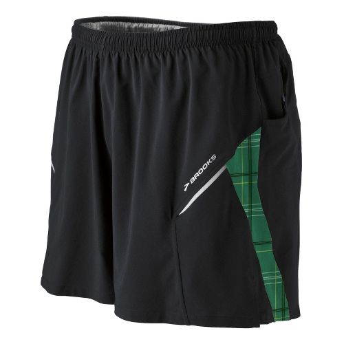 Mens Brooks Sherpa III Lined Shorts - Black/Green L
