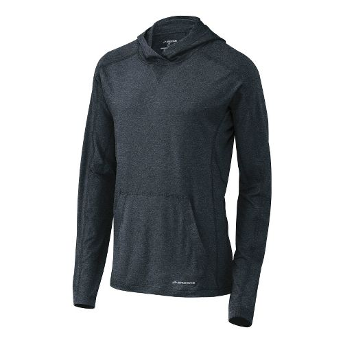 Mens Brooks Essential Hoodie Long Sleeve No Zip Technical Tops - Asphalt L
