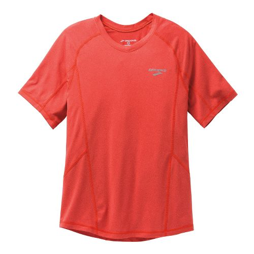 Mens Brooks Essential Short Sleeve Technical Tops - Mars Red S
