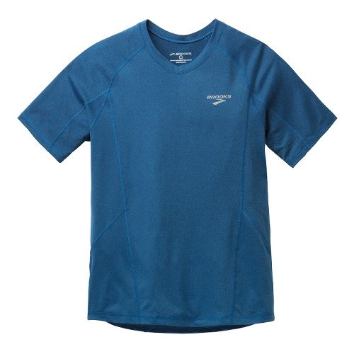 Mens Brooks Essential Short Sleeve Technical Tops - Orion Blue M
