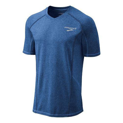 Mens Brooks Essential Short Sleeve Technical Tops - Starlight Blue M