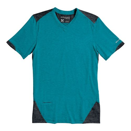 Mens Brooks PureProject Short Sleeve Technical Top - Caribbean Sea/Anthracite S