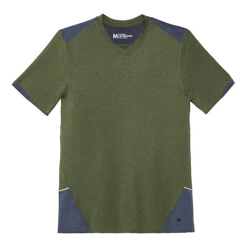 Mens Brooks PureProject Short Sleeve Technical Top - Olive/Midnight Blue L