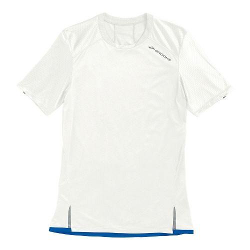 Mens Brooks Infiniti Short Sleeve Technical Tops - White L