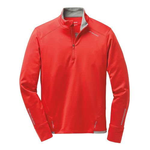 Mens Brooks Infiniti Long Sleeve 1/2 Zip Technical Tops - Mars Red L