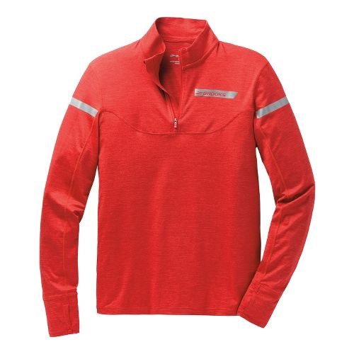 Mens Brooks Essential III Long Sleeve 1/2 Zip Technical Tops - Mars Red L