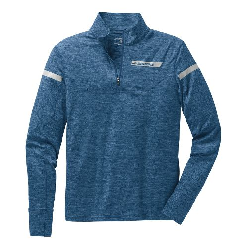 Mens Brooks Essential III Long Sleeve 1/2 Zip Technical Tops - Orion Blue L
