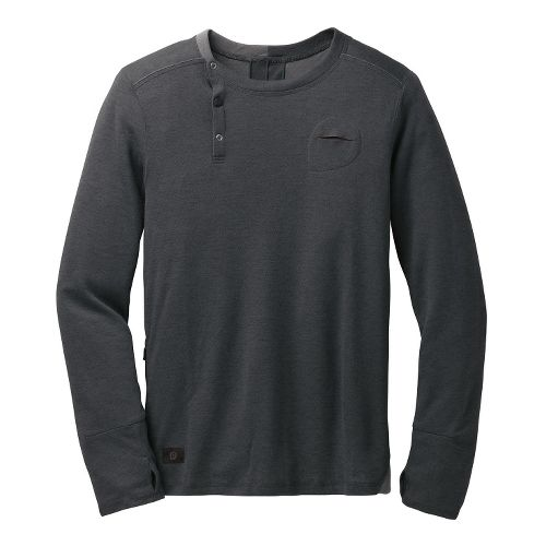 Mens Brooks PureProject Henley Long Sleeve No Zip Technical Tops - Charcoal XL