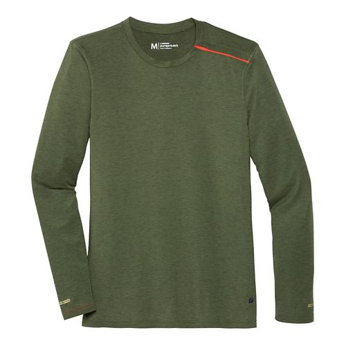 Mens Brooks Pureproject Henley Long Sleeve No Zip II Technical Top - Olive XXL