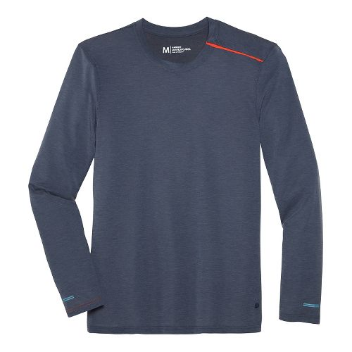 Mens Brooks Pureproject Henley Long Sleeve No Zip II Technical Top - Midnight Blue S ...