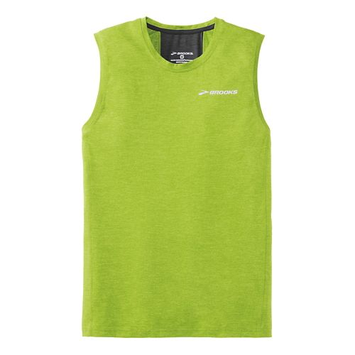 Mens Brooks Essential Sleeveless Technical Top - Lime Green L