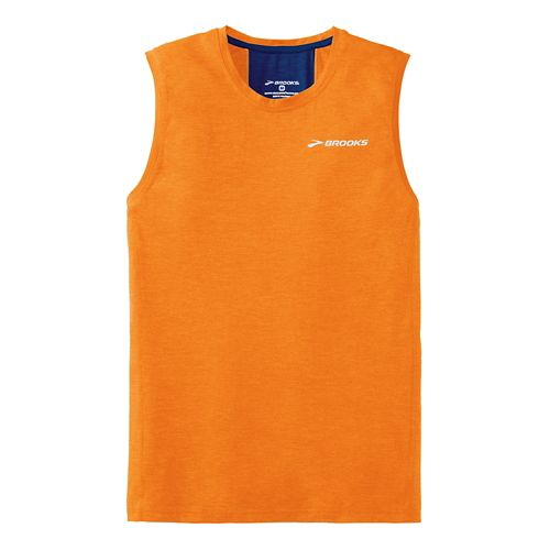 Mens Brooks Essential Sleeveless Technical Top - Satsuma L