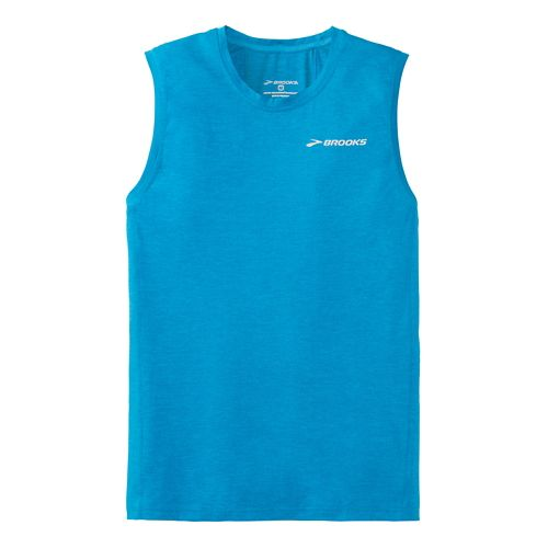Mens Brooks Essential Sleeveless Technical Top - Sea Blue XXL