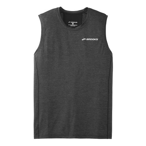 Mens Brooks Essential Sleeveless Technical Top - Heather Black S