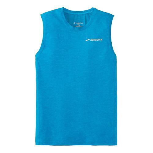 Mens Brooks Essential Sleeveless Technical Top - Sea Blue XL