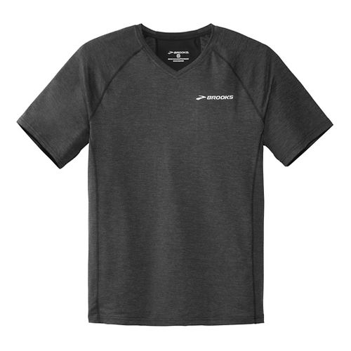 Mens Brooks Essential Short Sleeve II Technical Top - Heather Black XXL