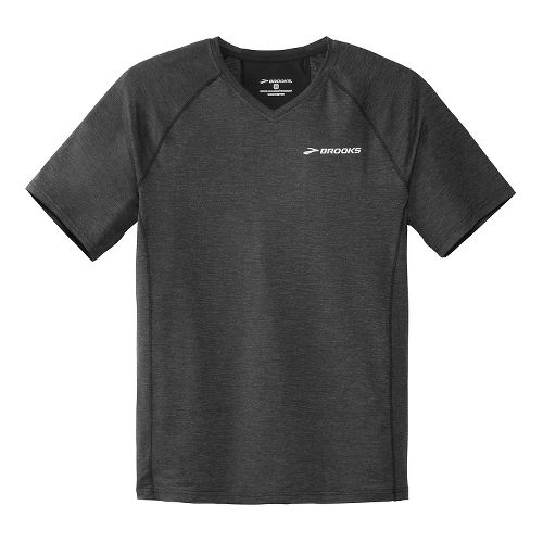 Mens Brooks Essential Short Sleeve II Technical Top - Heather Black XL
