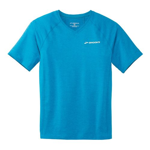 Mens Brooks Essential Short Sleeve II Technical Top - Sea Blue XS