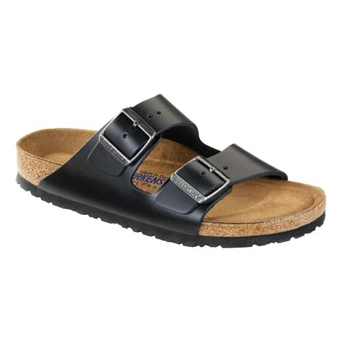 Birkenstock Arizona Soft Footbed Sandals Shoe - Black Amalfi Leather 36