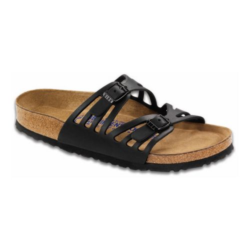 Womens Birkenstock Granada Soft Footbed Sandals Shoe - Black Oiled Leather 38