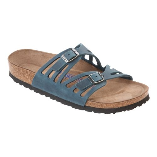 Womens Birkenstock Granada Soft Footbed Sandals Shoe - Turquoise Oiled Leather 36