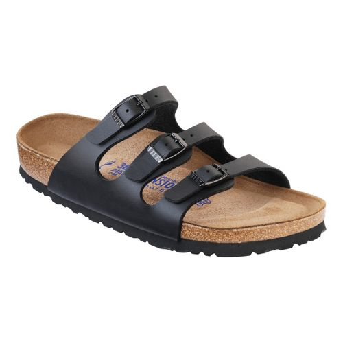 Womens Birkenstock FLORIDA SOFT FOOTBED Sandals Shoe - Black Birko-Flor 37