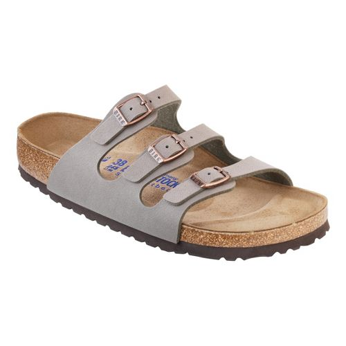 Womens Birkenstock FLORIDA SOFT FOOTBED Sandals Shoe - Stone Birko-Flor 41