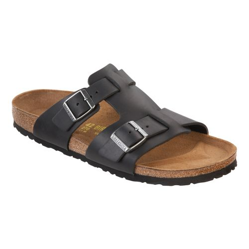 Mens Birkenstock Riva Sandals Shoe - Black Oiled Leather 46