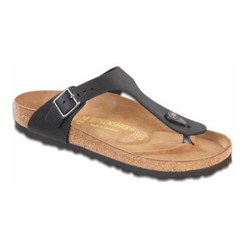 Womens Birkenstock Gizeh Leather Sandals Shoe - Black Oiled Leather 41