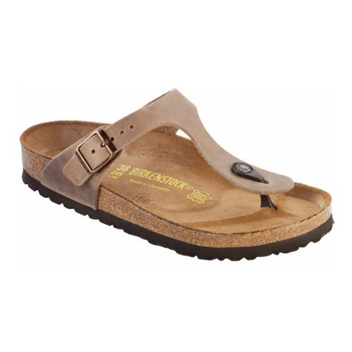Womens Birkenstock Gizeh Leather Sandals Shoe - Tobacco Oiled Leather 36