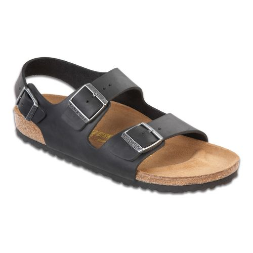 Birkenstock Milano Oiled Leather Sandals Shoe - Black 46