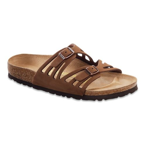 Womens Birkenstock Granada Soft Footbed Leather Sandals Shoe - Cocoa 35
