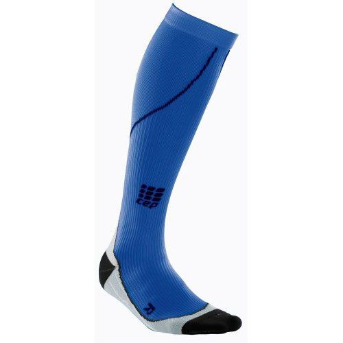 Womens CEP Running Compression Sock - Blue/Stripe L