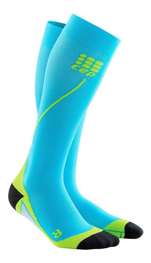 Mens CEP Progressive+ Run Compression Socks 2.0 Injury Recovery - Hawaii Blue/Green L