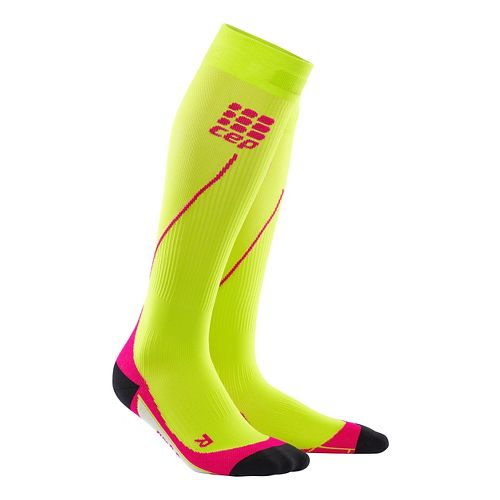 Womens CEP Progressive+ Run Compression Socks 2.0 Injury Recovery - Lime/Pink S