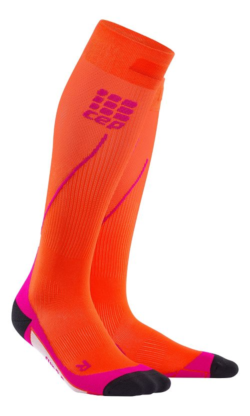 Womens CEP Progressive+ Run Compression Socks 2.0 Injury Recovery - Sunset/Pink S