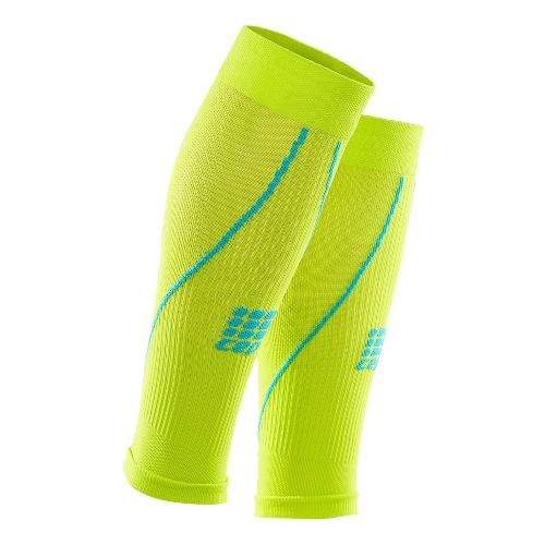 Mens CEP Progressive+ Compression Calf Sleeves 2.0 Injury Recovery - Lime/Hawaii Blue L