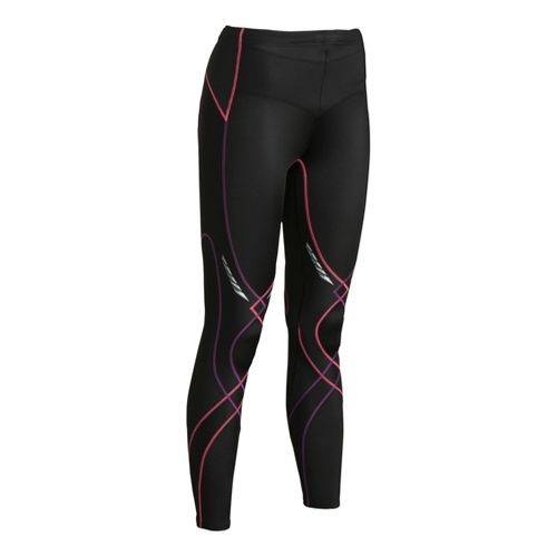 Womens CW-X Reflective Stabilyx Fitted Tights - Black/Fuchsia L
