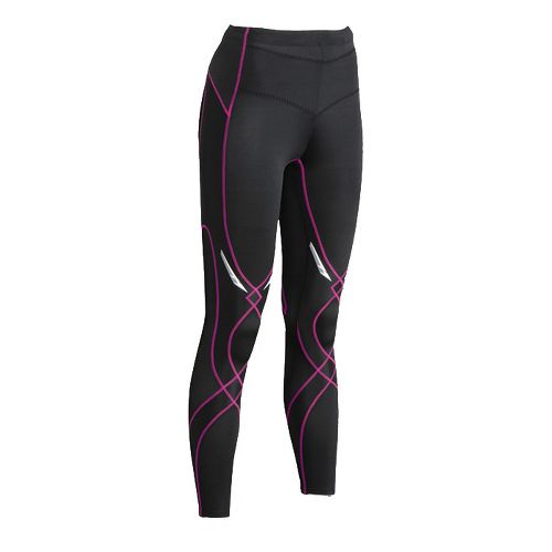 Womens CW-X Reflective Stabilyx Fitted Tights - Black/Raspberry S